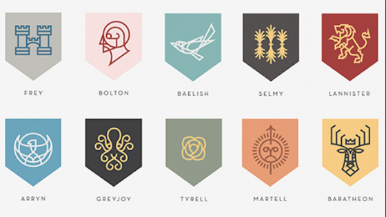 Westeros coats of arms, odreamed up by Nike visual designer Darrin Crescenzi.