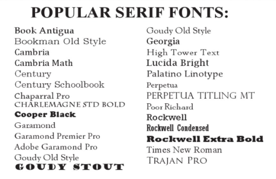 Serif cheatsheet